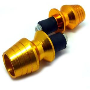 バーエンドキャップ バイク 22.2mm ハンドル に 対応 2ヶ で 1セット 外装 の カスタム ( ゴールド 【 金 】)|maximaselect
