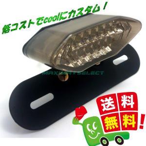汎用 LED テールランプ ブレーキランプ ウインカー ナンバー灯 バイク 外装 カスタム アメリカン  (スモーク ( ステー付き ))|maximaselect