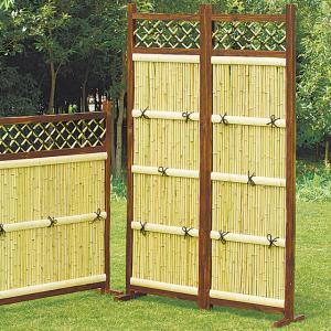竹フェンス 縦型2枚組 庭 竹垣 目隠し 間切り フェンス 袖垣 ガーデン DIY|maxlex