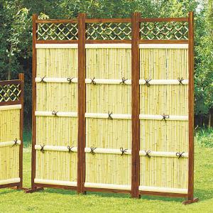 竹フェンス 縦型3枚組 庭 竹垣 目隠し 間切り フェンス 袖垣 ガーデン DIY|maxlex