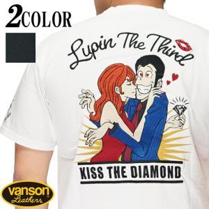 VANSON バンソン ルパン三世 コラボ Tシャツ 半袖 メンズ ルパンと不二子 LPN-2108|mayakasai