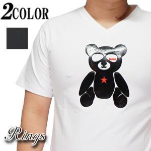 Rings リングス Tシャツ 半袖 ラバーTシャツ 熊 モノグラム メンズ 121584【Rings[リングス]から新作Tシャツが登場!!】|mayakasai