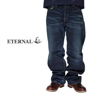 ETERNAL エターナル ストレートジーンズ 赤耳セルビッチ ルーズ デニム ハンドウォッシュ加工 岡山 児島 日本製 884HW|mayakasai
