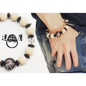 達磨[だるま] 白虎 腕輪念珠 和柄ブレスレット/日本製/数珠/DAJ0001-19|mayakasai