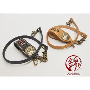 錦[にしき] 桜 レザーロープ付きキーホルダー/和柄/557453/送料無料|mayakasai