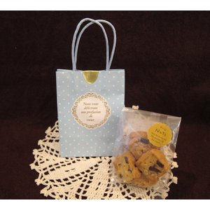 【クッキープチギフト(ブルー)】アーモンドとチョコのクッキー5枚を入れたプチギフト、バレンタインデーやホワイトデー、退職、異動のプレゼントにおすすめ|mayfair-net