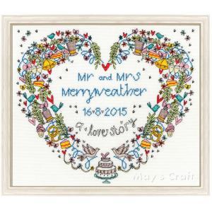 クロスステッチ 刺繍キット Wedding Heart Bothy Threads 日本語解説付き ウェディング ウェルカムボード 結婚式