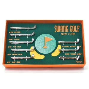 WEB会議 テレワーク クールビズ ギフト プレゼント SWANK ゴルフのタイピン(フルセット・専用箱入り)|mays-jewelry