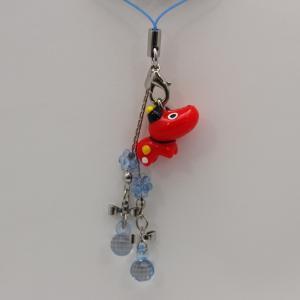 リボンとクリアブルーのデコレーションが一際目を引く♪ 赤べこペアリボンストラップ ・ブルー まざっせこらっせの商品5000円以上お買い上げで送料無料|mazassekorasse