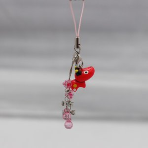 リボンとクリアピンクのデコレーションが一際目を引く♪ 赤べこペアリボンストラップ ・ピンク 赤ベコ 商品5000円以上お買い上げで送料無料|mazassekorasse