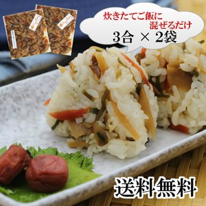 送料無料  ごぼうご膳 2袋セット(6合分) 簡単!!炊き立てご飯に混ぜるだけ 送料無料・1000円ポッキリ ごぼうの食感と香りを楽しめます|mazassekorasse