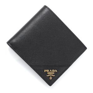 プラダ PRADA 2つ折り財布 SAFFIANO ブラック メンズ 2mo513-qme-f0632 mb-y