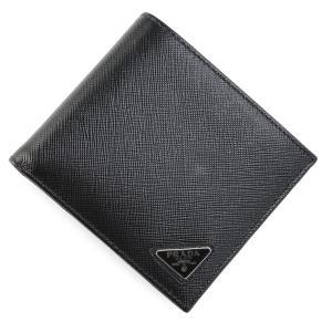 プラダ PRADA 2つ折り 財布 小銭入れ付き ブラック メンズ 2mo738-qhh-f0002|mb-y