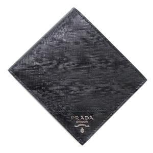 プラダ PRADA 2つ折り 財布 小銭入れ付き SAFFIANO サフィアーノ ブラック メンズ 2mo738-qme-f0002|mb-y