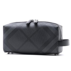 バーバリー BURBERRY ポーチ ロンドンチェック&レザー セカンドバッグ グレー メンズ 4068330-charcoal-black|mb-y