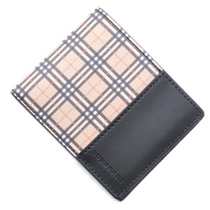 バーバリー BURBERRY 2つ折り 財布 スモールスケールチェック&レザー ベージュ メンズ 4078055-antiqueyellow-black|mb-y