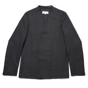 メゾンマルジェラ Maison Margiela ノーカラー ジャケット 10 男性のためのコレクション グレー メンズ s50bn0447-s44330-860|mb-y