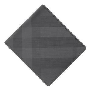 バーバリー BURBERRY 2つ折り 財布 LONDON CHECK & LEATHER INTERNATIONAL BIFOLD WALLET グレー メンズ 8014481-darkcharcoal|mb-y