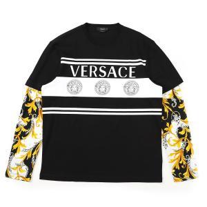 ヴェルサーチェ VERSACE クルーネック 長袖Tシャツ T-SHIRT M/LUNGA MITCHEL FIT ブラック メンズ a86389-a236035-a7027|mb-y