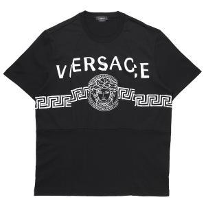ヴェルサーチェ VERSACE クルーネック Tシャツ MEDUSA LOGO T-SHIRT ブラック メンズ a86893-a228806-a1008|mb-y