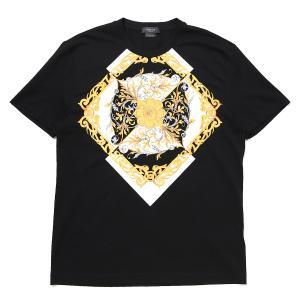 ヴェルサーチェ VERSACE クルーネック Tシャツ BAROCCO ACANTHUS PRINT T-SHIRT ブラック メンズ a87375-a231463-a1008|mb-y