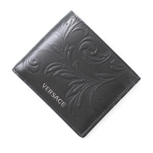 ヴェルサーチェ VERSACE 2つ折り財布 PORTAFOGLIO VITELLO BAROCCO ブラック メンズ dpu2463-dpba4-d41e|mb-y