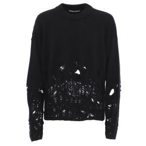 パーム エンジェルス PALM ANGELS クルーネック セーター DISTRESSED FLAMES SWEATER ブラック メンズ pmhe007e20kni004-1001|mb-y