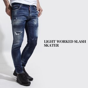 ディースクエアード DSQUARED2 ジーンズ ウォッシュ:LIGHT WORKED SLASH SKATER スケーター ブルー メンズ s71lb0490-s30342-470|mb-y