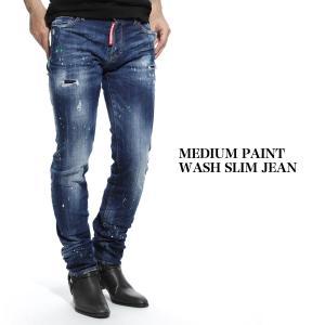 ディースクエアード DSQUARED2 ジーンズ ウォッシュ: MEDIUM PAINT WASH SLIM JEAN ミディアム ペイント ウォッシュ スリム ブルー メンズ s71lb0637-s30342-470|mb-y