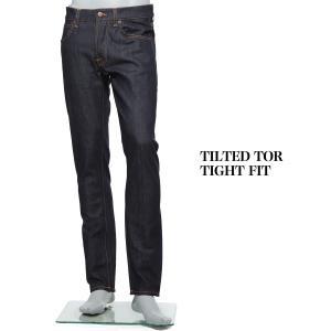 ヌーディージーンズ nudie jeans co ボタンフライ ジーンズ TILTED TOR TIGHT FIT ティルテッド トール タイトフィットデニム ブルー メンズ|mb-y