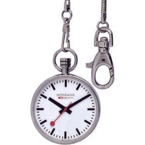 モンディーン スイス国鉄公式ポケットウォッチ アナログ 懐中時計 ホワイト 白 ダイアル(A660.30316.11SBB)シルバー 銀 ステンレスケース おしゃれな懐中時計|mdcgift
