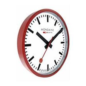 モンディーン 壁掛け時計 アナログ 掛け時計 ホワイト 白 ダイアル(A990.CLOCK.11SBC)レッド 赤 アルミケース MONDAINE おしゃれな インテリアクロック|mdcgift