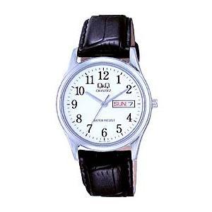 シチズン メンズ アナログ 腕時計 3気圧日常防水 日付・曜日カレンダー アラビア数字(CBQ021)Q&Q CITIZEN カジュアル ウォッチ 時計 レザー 合皮バンド mdcgift