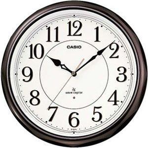 壁掛け時計 カシオ 電波時計 壁掛け 時計 アナログ LEDライト常時点灯機能 秒針停止機能搭載 CASIO 電波時計 掛け時計(CL11OC07:濃茶)