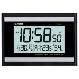 カシオ 電波時計 壁掛け時計 デジタル 掛け時計 おしゃれな ブラック 黒(CL15JU45) 日付 曜日 カレンダー 温度 湿度計付き CASIO 見やすい 大型液晶 電波掛時計