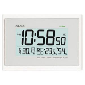 カシオ 電波時計 壁掛け時計 デジタル 掛け時計 ホワイト 白(CL15JU46WHT)日付・曜日 カレンダー 温度 湿度計付き 掛時計 CASIO 大型液晶 電波掛け時計 mdcgift