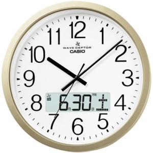 カシオ 電波時計 壁掛け時計 デジタル アナログ 掛け時計 カレンダー(CL15JU51GLD)アラビア数字 デュアルタイム プログラム時報 大型液晶 CASIO 電波掛け時計 mdcgift