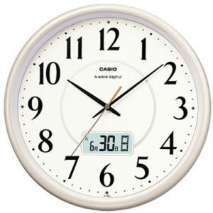 カシオ 電波時計 壁掛け時計 デジタル アナログ 掛け時計 おしゃれな ホワイト 白 文字板(CL15JU53)見やすい アラビア数字 日付 曜日 カレンダー 電波掛時計