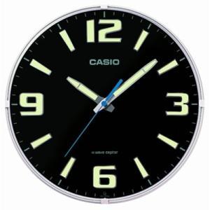 カシオ 電波時計 壁掛け時計 アナログ 掛け時計 アラビア数字 おしゃれな ブラック 黒 (CL15JU68) 蓄光 夜光時計 秒針 音がしない 電波掛時計 ウォールクロック