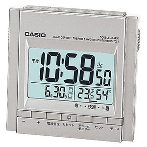 カシオ コンパクト 置き時計 デジタル 電波時計 目覚まし時計 旅行用(CL15OC01) 温度 湿度計 LED ライト付き 大型液晶 CASIO 卓上 置時計 トラベルクロック