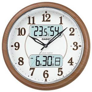 カシオ 電波時計 壁掛け時計 デジタル アナログ 掛け時計 野鳥のさえずり時報(CL16JA03) 大型液晶 日付 曜日 カレンダー 温度 湿度計 LEDライト付き 電波掛時計