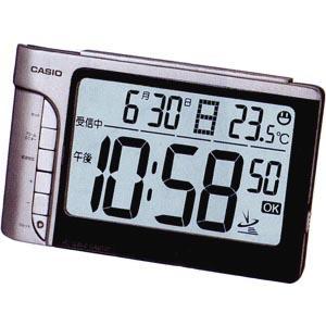 カシオ 電波時計 置時計 デジタル 目覚まし時計 シルバー 銀(CL7FB02)カレンダー アラーム スヌーズ 温度計 LEDライト付き 大型液晶 CASIO 卓上 電波 置き時計 mdcgift
