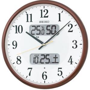 壁掛け時計 電波時計 デジタル アナログ 掛け時計 アラビア数字 見やすい 大型液晶 日付 曜日 カレンダー 温度 湿度計 セイコー 秒針の音がしない 電波掛時計