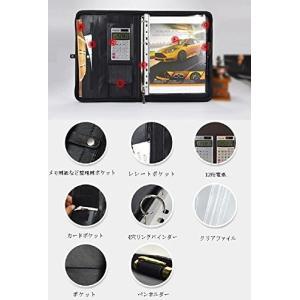 (Goodluck)A4 レザー システム手帳 電卓付き ファスナータイプ ビジネス手帳 4穴リングバインダー付き ブラック mdk-store