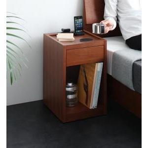 コンセント 収納付きコンパクトサイズナイトテーブル Gioc|mdmoko