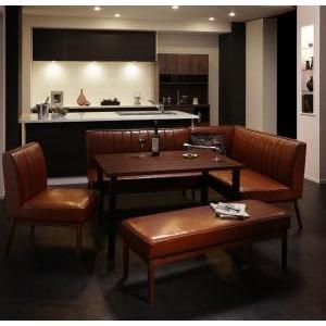 ダイニングテーブル 5点セット(テーブル+ソファ1脚+アームソファ1脚+チェア1脚+ベンチ1脚) 右アーム W120|mdmoko