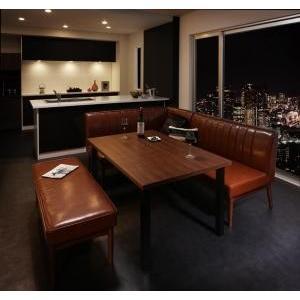 ダイニングテーブル 4点セット(テーブル+ソファ1脚+アームソファ1脚+ベンチ1脚) 左アーム W120|mdmoko
