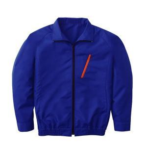 空調服 ポリエステル製長袖ブルゾン P-500BN 〔カラー:ブルー サイズ:XL〕 電池ボックスセット|mdmoko