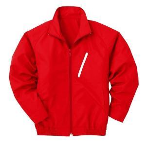 空調服 ポリエステル製長袖ブルゾン P-500BN 〔カラー:レッド(赤) サイズ:LL〕 電池ボックスセット|mdmoko