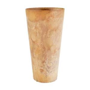 底面給水型 植木鉢/プランター 〔トールラウンド型 ベージュ 直径28cm×高さ49cm〕 底栓付 『アートストーン』 〔園芸用品〕|mdmoko